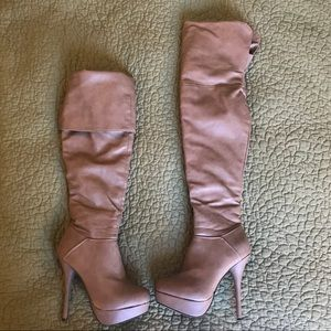 Tan over the knee stiletto boots